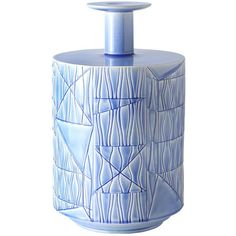 This striking pale blue vase, designed by Bethan Laura Wood in 2016 is in white clay with a delicate pale blue finish and features a large cylindrical body decorated with geometric carvings. Blue Home Decor, Wood Home Decor, Wooden Decor, Wooden Vase, Laura Wood, Colored Vases, Vases For Sale, Wood Interior Design, White Clay