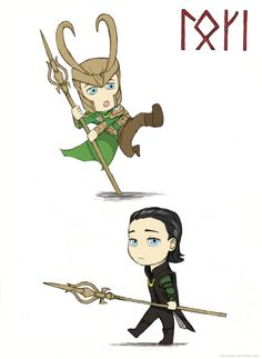 """(september 162011) Chibi Loki <3""""I wanted to write his name using the old norse runic alphabet. I used a special swedish-norwe..."""""""