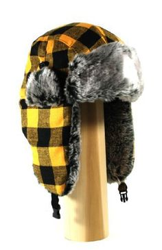 d49d2ea38a617 Buffalo Plaid Wool Faux Fur Trooper Trapper Pilot Aviator aviator  Lumberjack Hat for Men and Women Fits up to a Large Head with Front Buckle.
