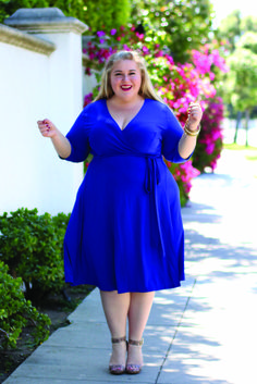 a3bee6542f Blogger Sarah Sapora from sarahpluslife.com is rocking our plus size  Essential Wrap Dress in