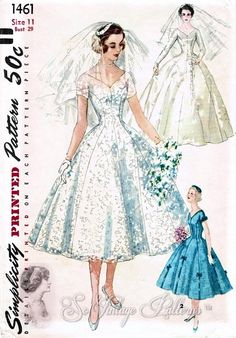 1950s SIMPLICITY PATTERN 1461 LOVELY WEDDING DRESS BRIDAL GOWN and VEIL PRINCESS STYLE UNCUT Several Sizes available