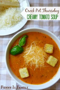 This Creamy Crockpot Tomato Soup tastes fancy, looks beautiful, and is a light and healthy lunch or dinner recipe! Pair it with a grilled cheese sandwich, garlic bread, or a salad, and enjoy a delicious meal!