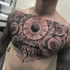 Watch and rose chest tattoo - 65 Nice Chest Tattoo Ideas