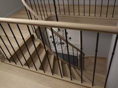 Eiken trappen - HoutAmbacht Balcony Railing, Stair Railing, Loft Conversion Stairs, Timber Stair, Home Stairs Design, Interior Balcony, House Staircase, Stairs In Living Room, Glass Stairs