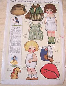 Jennie and Benny Dolly Dingle paper dolls 1920's