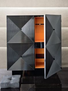 "Armani Casa Bar - with ""Hermes"" Orange interior Love the orange interior of the beautiful piece #armanicasa #hermes"