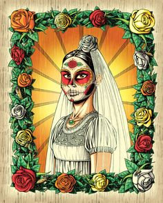 5 x 7 Day of the Dead Wedding Greeting Card by NicholasIvins