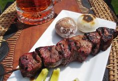 filet mignon marinated in spices and spanish beer - chuzos de res