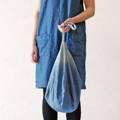 Linen knot bag- gradient blue