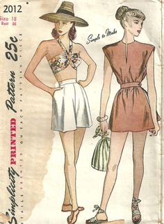 This vintage sewing pattern from Simplicity was designed in 1947. It makes a bra top and shorts set with a poncho style coverup. Size 18: Bust