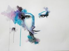 Watercolor surrealistic eyes portrait by IRSart.deviantart.com on @deviantART
