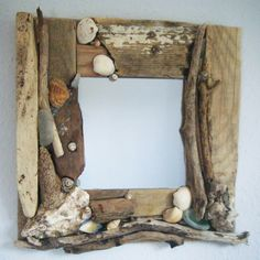 shell mirrors images | Handmade Driftwood and Shell mirror 30cm by DriftwoodAndDebris
