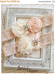 SALE 10% OFF Blush Lace Wedding Garter Set Cream by BridalQueen