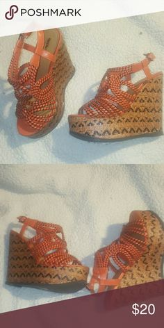 Shoes Orange and Black strappy sandals with 6 inch wedge hill. Perfect with Flare Jeans or a Long Skirt. Mossimo Shoes Wedges