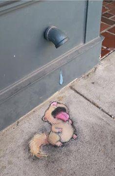 Street Art by David Zinn. 3d Street Art, Murals Street Art, Amazing Street Art, Art Mural, Street Art Graffiti, Street Artists, Graffiti Artists, Arte Peculiar, Urbane Kunst