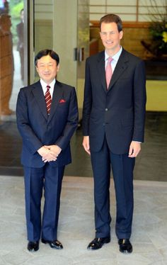 Crown Prince Alois (R) of Liechtenstein and Crown Prince Naruhito of Japan at Togu Palace on Oct 2, 2012 in Tokyo