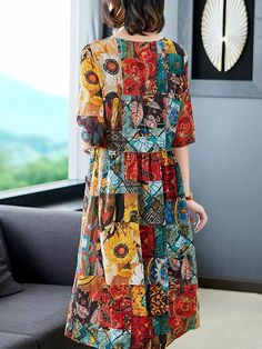 Fashion Loose Half Sleeve Slim Printing Skater Dress