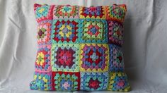 Crocheted Cushion Cover, Granny Squares Pillow, Made to Order £26.00