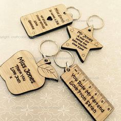 Beautiful, laser cut & engraved from high quality Oak. DESCRIPTION: · Beautiful Key Ring, ideal for teacher, nursery, friend family etc · Approx Size : Main Large Piece: approx · Personalised With Your Own T Christmas Presents For Teachers, Teachers Day Gifts, Personalised Keyrings, Personalized Teacher Gifts, School Leavers, Laser Cutter Projects, Wood Burning Crafts, 3d Prints, Engraved Gifts