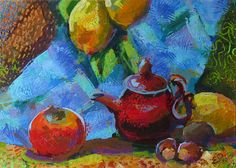Red TEAPOT painting KITCHEN STiLL LiFE fruit persimmon