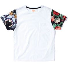 White T Shirt with Graphic Sleeves