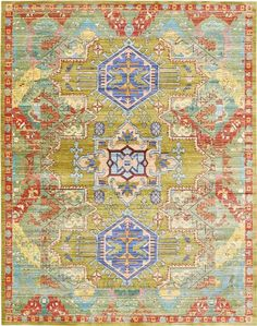 Modern Abstract Tribal 9-Feet by 12-Feet (9' x 12') Aria Light Green Contemporary Area Rug