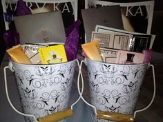 "These Pails are called ""MK Pampering Pails"" & this is a fantastic idea...a nice change from the goodie bags you pass out. You can make them up as gifts for your best customers and hostesses...or you can sell them! Give them to anyone who you feel has been amazing! Use some of our New products, or past Limited Addition, along w/some samples & you're off! ~ Have some fun! Www.marykay.com/dtowns1"