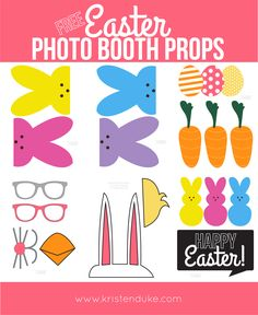 Free printable Easter Photo Booth Props! Perfect for any Easter/Spring Party!