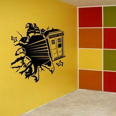 Vinyl Wall Decal Art Sticker - Dr Who Tardis Through Wall - Large size. $38.00, via Etsy.