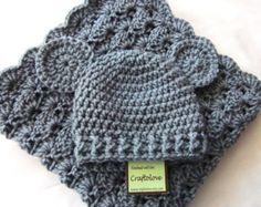Crochet bebé manta-Baby Boy ducha regalo conjunto por craftolove