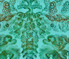 Haeckel Aquatica ~ Coral ~ Mars  fabric by peacoquettedesigns on Spoonflower - custom fabric