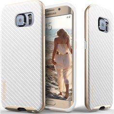 Caseology® Galaxy S6 Edge case [Envoy Series] [Carbon Fiber White]