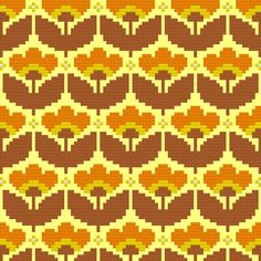 Kitschy Digitals :: Sewing Needlework Patterns :: Mellow Yellow Wallpaper Cross-Stitch Pattern