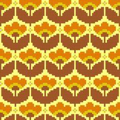 Kitschy Digitals :: Sewing & Needlework Patterns :: Mellow Yellow Wallpaper Cross-Stitch Pattern