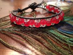 Unique Red and Silver Leather Bracelet Wrap by RoxieJaneJewelry, $25.00