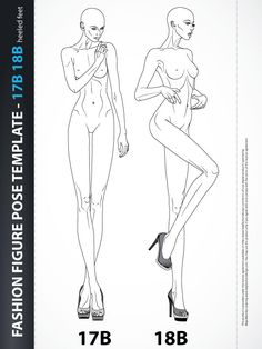 Fashion Body Template Illustration, includes two fashion body templates one from the front and other with three-quarter view.