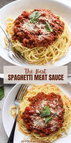 Quick Dinner Recipes, Top Recipes, Healthy Recipes, Healthy Food, Yummy Food, Best Spaghetti, Spaghetti Meat Sauce, Meat Sauce Recipes, Pasta Recipes