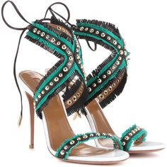 Aquazzura Latin Lover 105 Leather Sandals ($570) ❤ liked on Polyvore featuring shoes, sandals, heels, multicoloured, multicolor shoes, leather heeled sandals, aquazzura, leather sandals and leather footwear