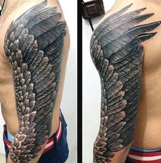 Full Sleeve Male With Wing Tattoos On Arm