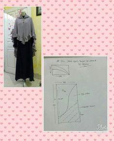 Pola hijab - Her Crochet Diy Fashion Scarf, Hijab Fashion, Women's Fashion, Dart Shirts, Hijab Style Tutorial, Stylish Hijab, Hijab Collection, Free Pattern Download, Dress Making Patterns
