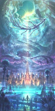 fantasy art My wallpaper Fantasy Art Landscapes, Fantasy Artwork, Landscape Art, Space Fantasy, Fantasy Places, Fantasy World, Dark Fantasy, Anime Fantasy, Final Fantasy