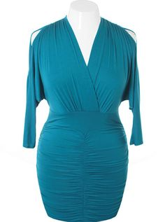 Plus Size Sexy V Hugging Cocktail Aqua Dress, Plus Size Clothing, Club Wear, Dresses, Tops, Sexy Trendy Plus Size Women Clothes