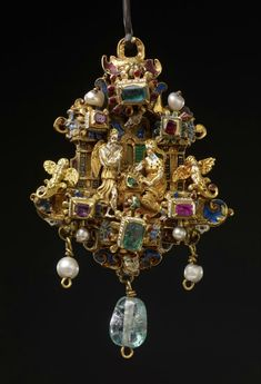 Gold enamelled pendant of 'architectural' form with two gold enamelled figures in full relief depicting the Annunciation, probably Netherlandish (Antwerp), or German, 1550-1575. Bequeathed by Baron Ferdinand Anselm Rothschild, 1898; ex-collection Baron Anselm von Rothschild (1866 cat. no. 336), ex-collection Horace Walpole, 4th Earl of Orford. WB.153. British Museum collection. © Trustees of the British Museum