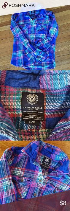 American Eagle size small flannel Size small flannel. Is blue,pink,and red mix. No rips or stains American Eagle Outfitters Tops Button Down Shirts