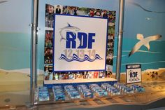Shark Themed Display Shark Themed Seating Card Display with Custom Logo & Photo Border
