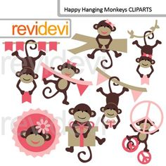 Cute clip art: Happy hanging monkeys (pink, brown) commercial use. Cute monkeys, banners, peace signs.Clipart set for teachers and educators. Great resource for any school and classroom projects such as for creating bulletin board, printable, worksheet, classroom decor, craft materials, activities and games, and for more educational and fun projects.Buy in bundle, and save a lot!Link-Cute hanging monkeys (3 packs) pink, peace signYou will receive:- Each clipart saved separately in PNG ...