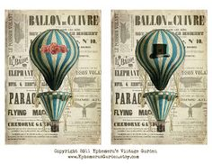 Ephemera's Vintage Garden: Weekly Freebie: His And Hers Hot Air Balloons.--- just print the his:) Vintage Labels, Vintage Ephemera, Printable Vintage, Decoupage Paper, Envelopes, Hot Air Balloon, Scrapbook Paper, Scrapbooking, Vintage Images