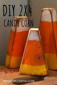 DIY candy corn, how to make easy primitive fall decorYou can find Fall crafts and more on our website.DIY candy corn, how to make easy primitive fall decor Fall Wood Crafts, Halloween Wood Crafts, Fall Halloween, Decor Crafts, Holiday Crafts, Diy And Crafts, Primitive Fall Crafts, Disney Halloween, Halloween Signs