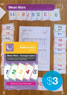 Mean Wars is a fun way to reinforce averages. Requiring players to find the mean, median, mode and range of a series of cards handed out, students will want to find the averages to score the highest points.