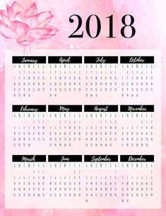 Free Year At A Glance Planner Insert - Printable Pink, Grey and Black http://www.malenahaas.com/2017/12/freebie-friday-2018-year-at-glance.html